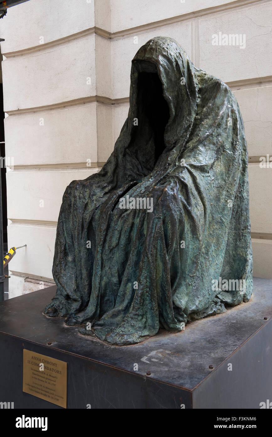 Anna Chromy, Empty Cloak Statue,  Il Commendatorie, At Estates theatre, Prague, Czech Republic, - Stock Image