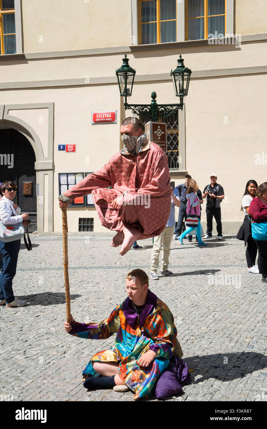 Street performers at Old Town Square, Prague, Czech Republic - Stock Image