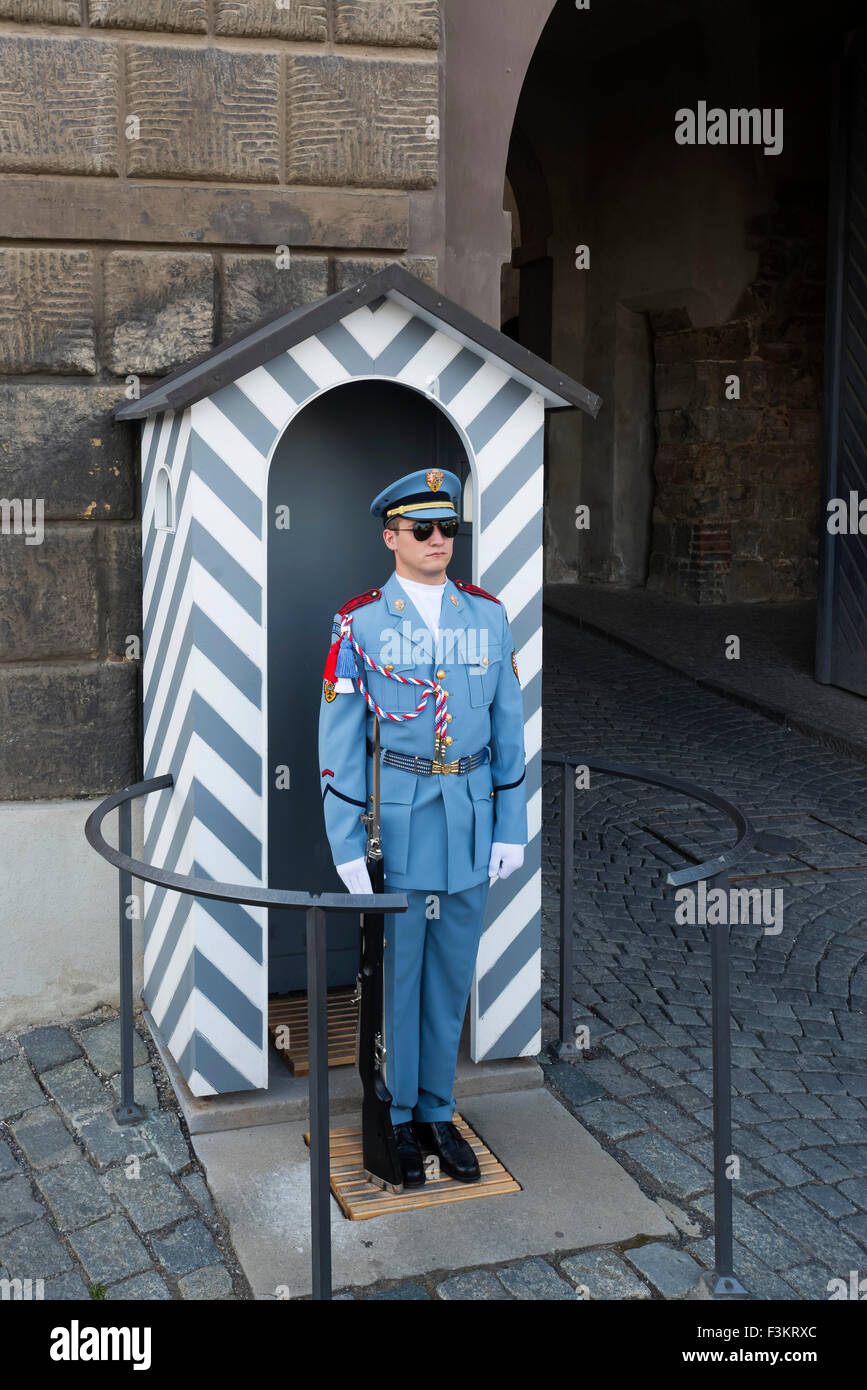 Czech soldiers at Prague castle, Prague, Czech Republic - Stock Image