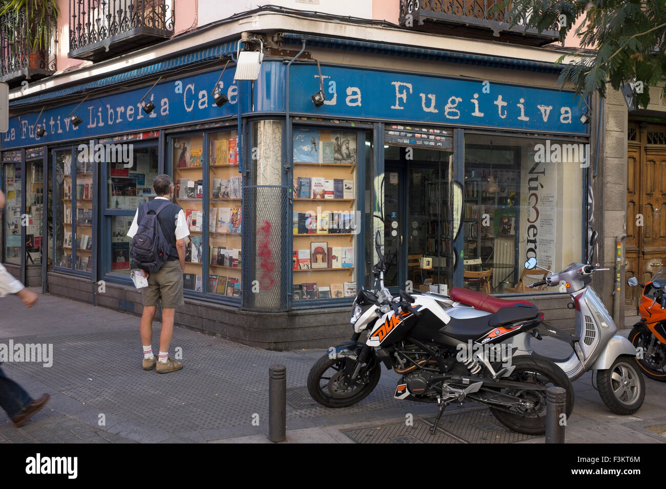 La Fugitiva Bookstore Madrid Spain - Stock Image
