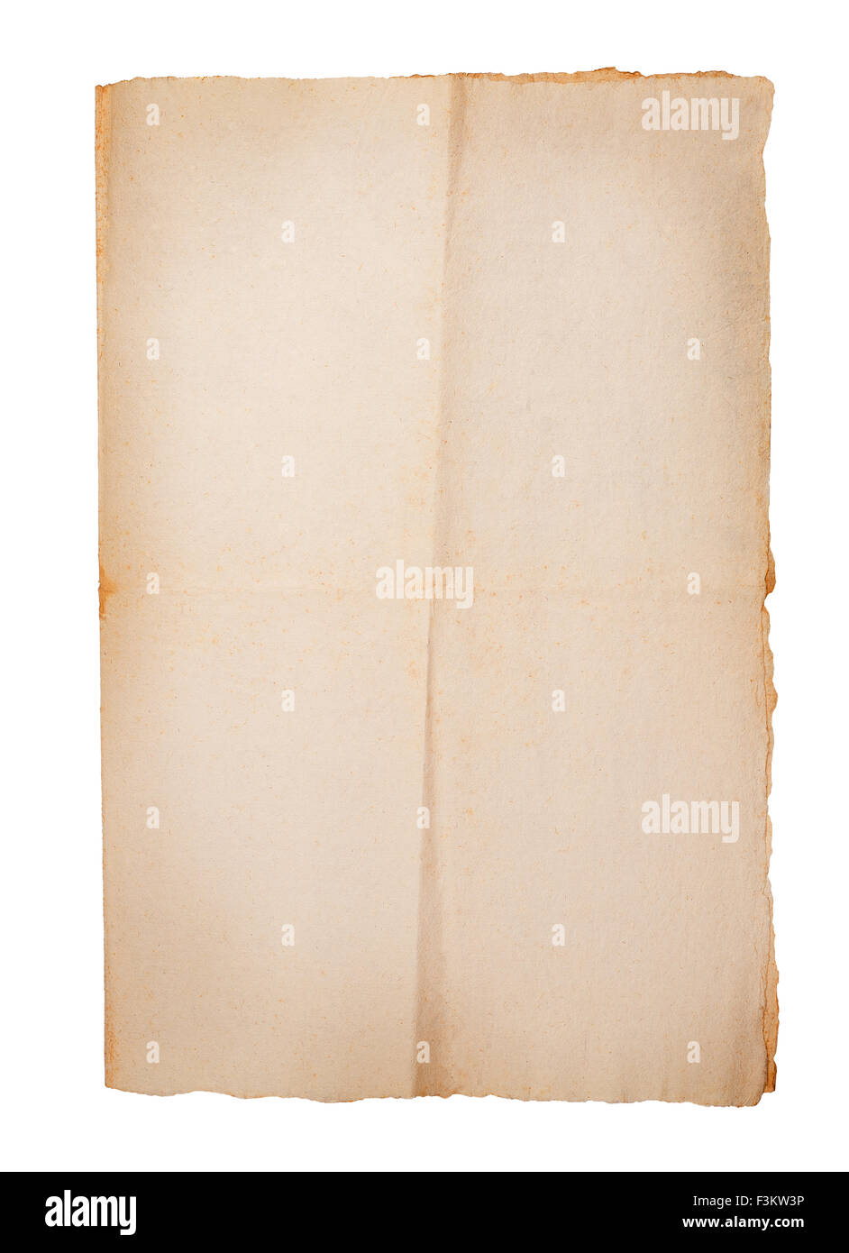 old sheet isolated on white - Stock Image