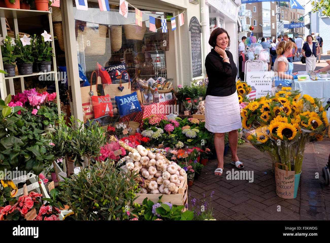 Cowes Week, 2015, Isle of Wight French themed shop with flowers produce outside The High Street Yacht Racing, Shore - Stock Image
