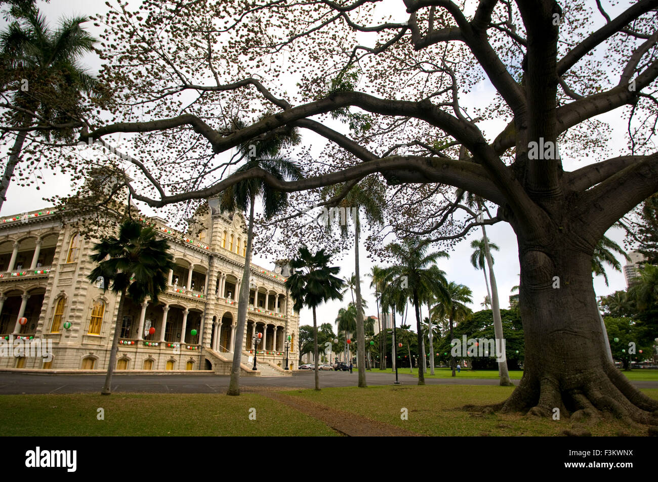 The Iolani Palace In Honolulu, Oahu, Hawaii, USA. Iolani Palace, the only royal palace in the USA; downtown historic Stock Photo