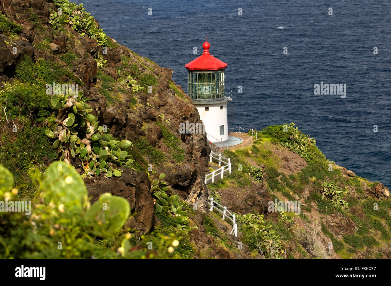 Makapu'u Lighthouse at the eastern end of the island. O'ahu. Hawaii. Makapuʻu Point Lighthouse is a 46-foot - Stock Image