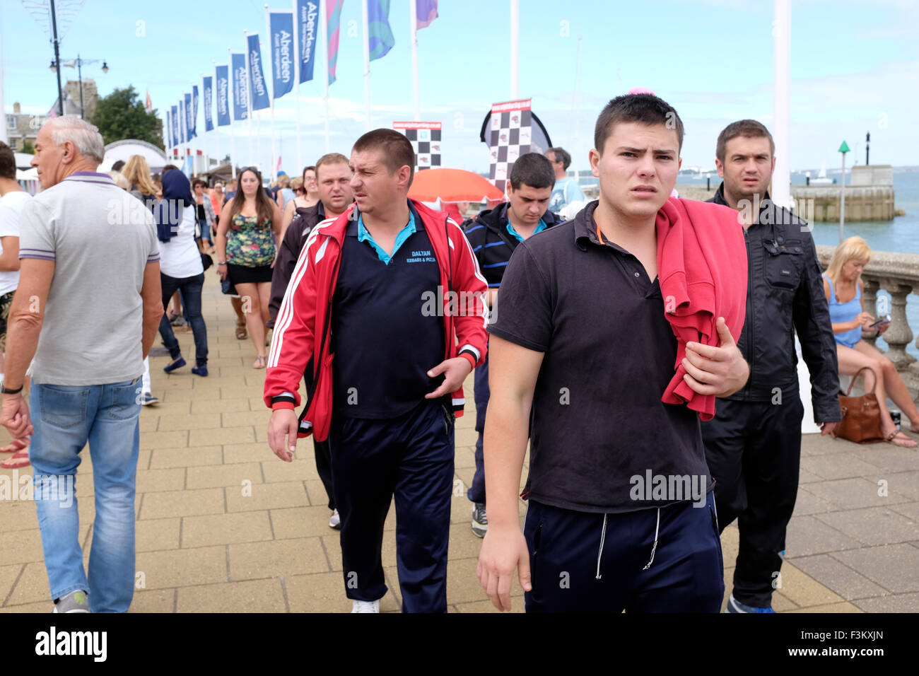 spectators Yacht Racing, Shore side entertainments, Bands, Yacht Club scenes, 2015, Cowes Week, Isle of Wight, England, - Stock Image