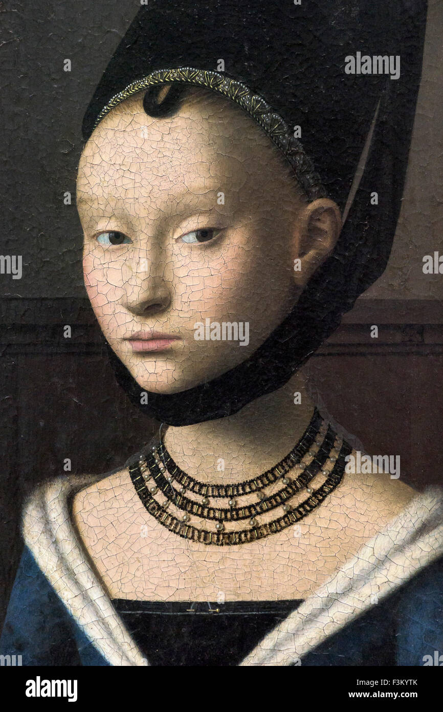 Berlin. Germany. Petrus Christus (c.1410/1420 – 1475/1476), Portrait of a Young Girl (Detail), circa 1470, Gemäldegalerie. - Stock Image
