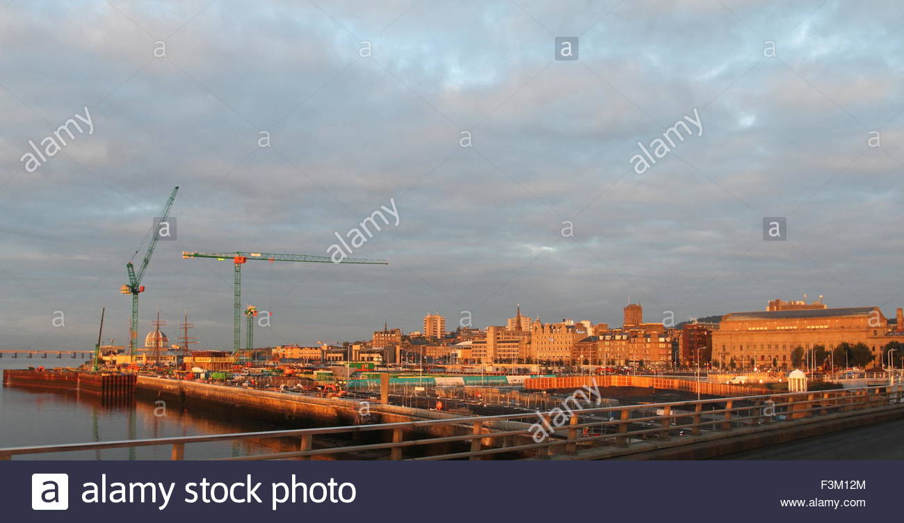 Victoria and Albert Design Museum Construction site at dawn Dundee Scotland  October 2015 Stock Photo