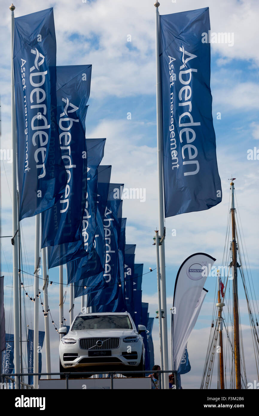 Yacht Haven flags Shore side entertainments, Bands, Yacht Club scenes, 2015, Cowes Week, Isle of Wight, England, - Stock Image