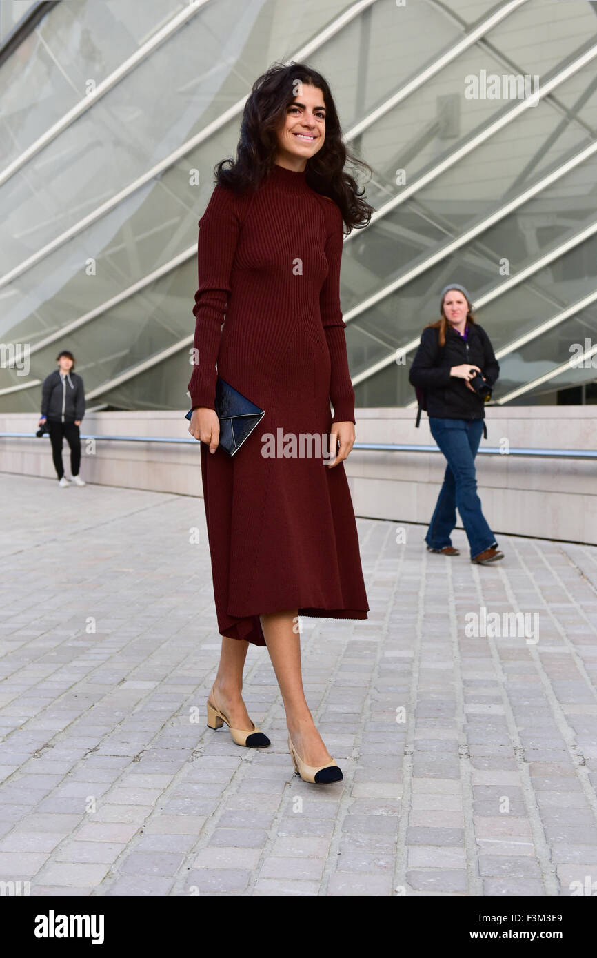 A chic showgoer posing outside of the Louis Vuitton runway show during Paris Fashion Week - Oct 7, 2015 - Photo: - Stock Image