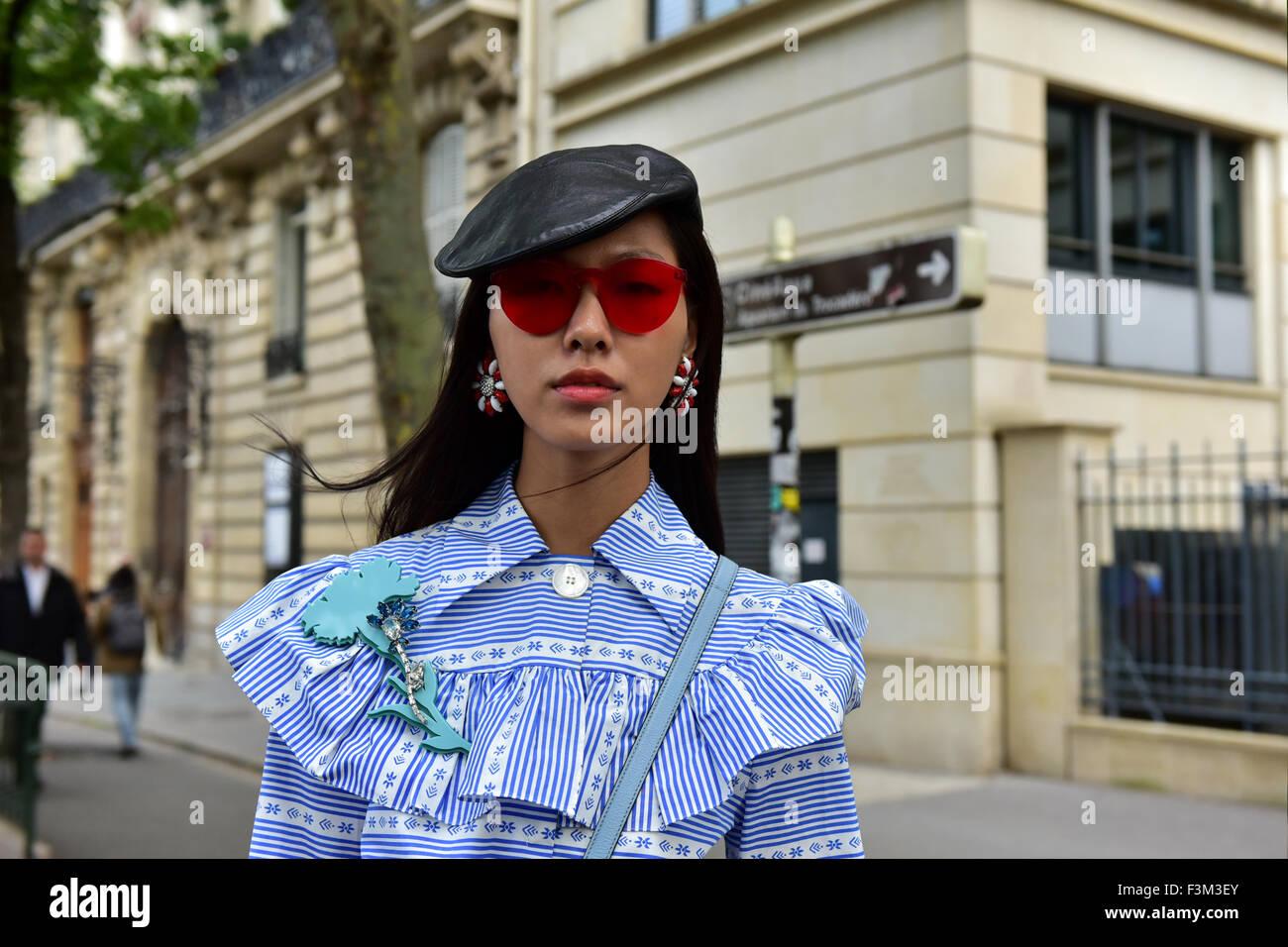 d9f181b76805 Yan posing outside of the Miu Miu runway show during Paris Fashion Week - Oct  7