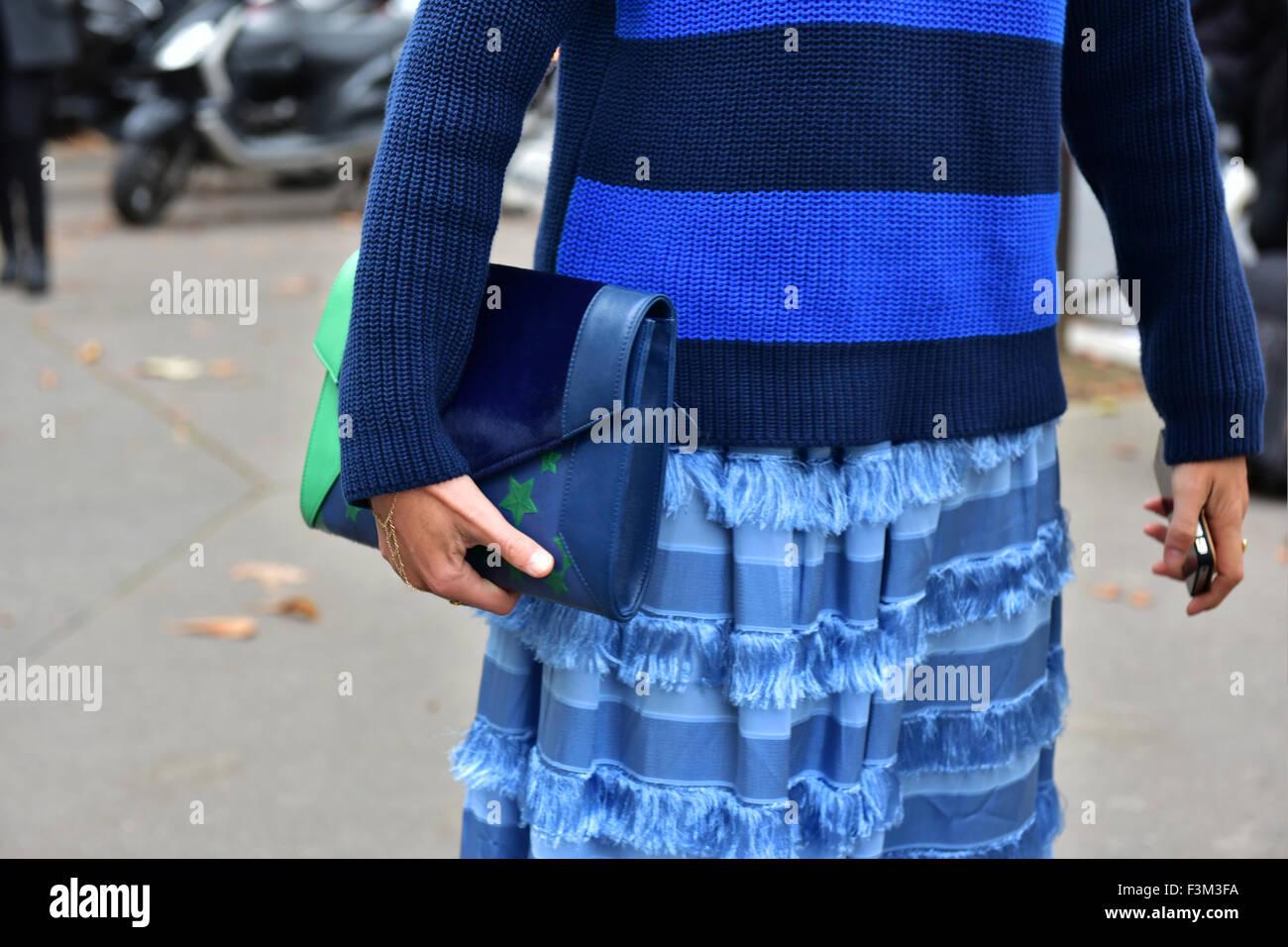 e43f12d793fd Blogger Elisa Nalin posing outside of the Miu Miu runway show during Paris  Fashion Week -