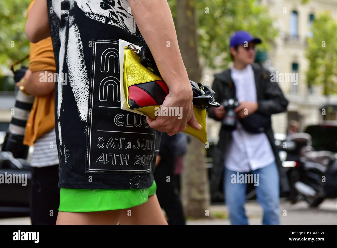 b5dda68a5858 Blogger Leigh Lizark posing outside of the Miu Miu runway show during Paris  Fashion Week -