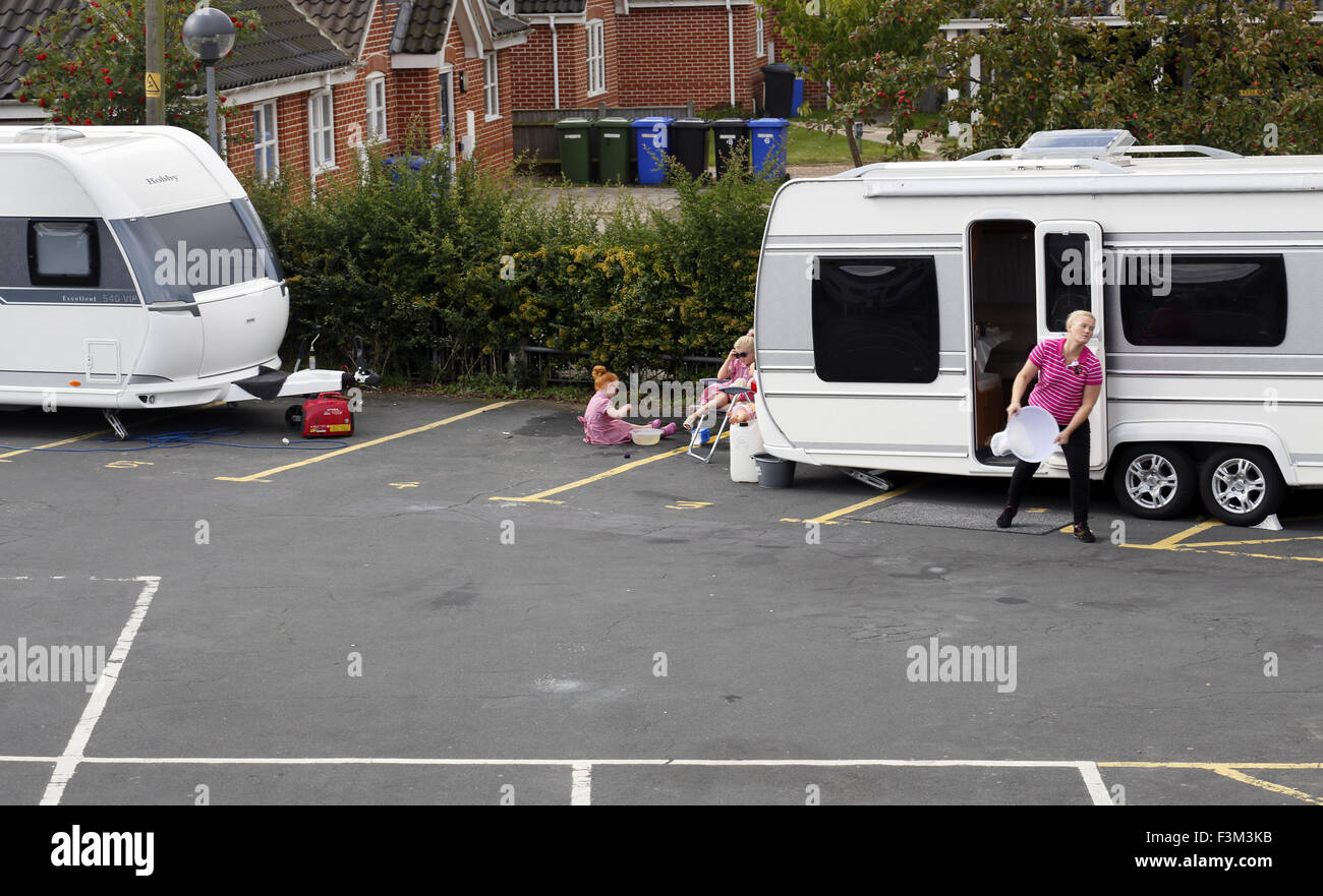 Travellers with their caravans. - Stock Image