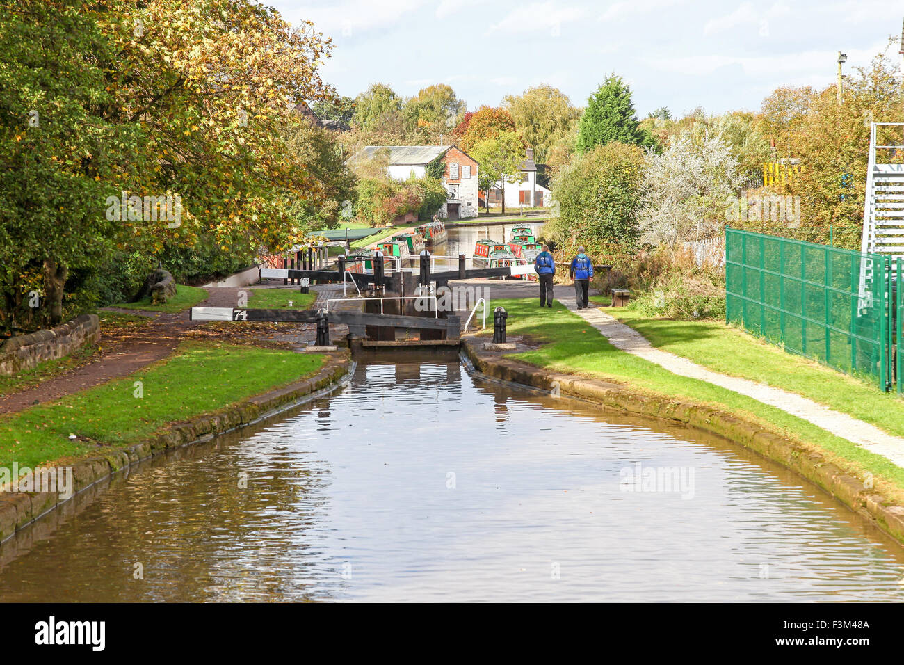 The Kings Lock Chandlery or boatyard on the Trent and Mersey Canal Middlewich Cheshire England UK - Stock Image