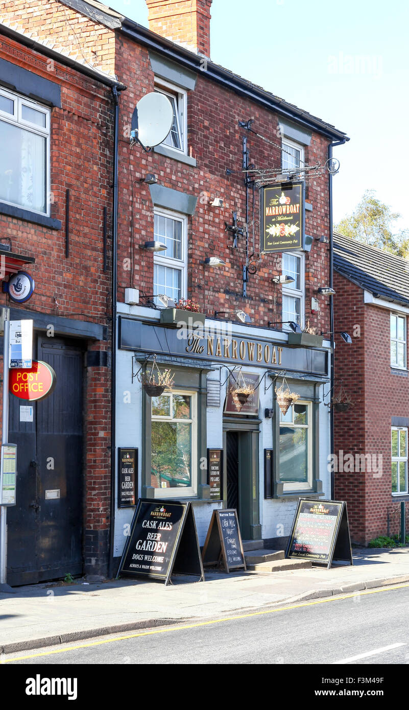 The Narrowboat pub or public house in Middlewich Cheshire England UK - Stock Image