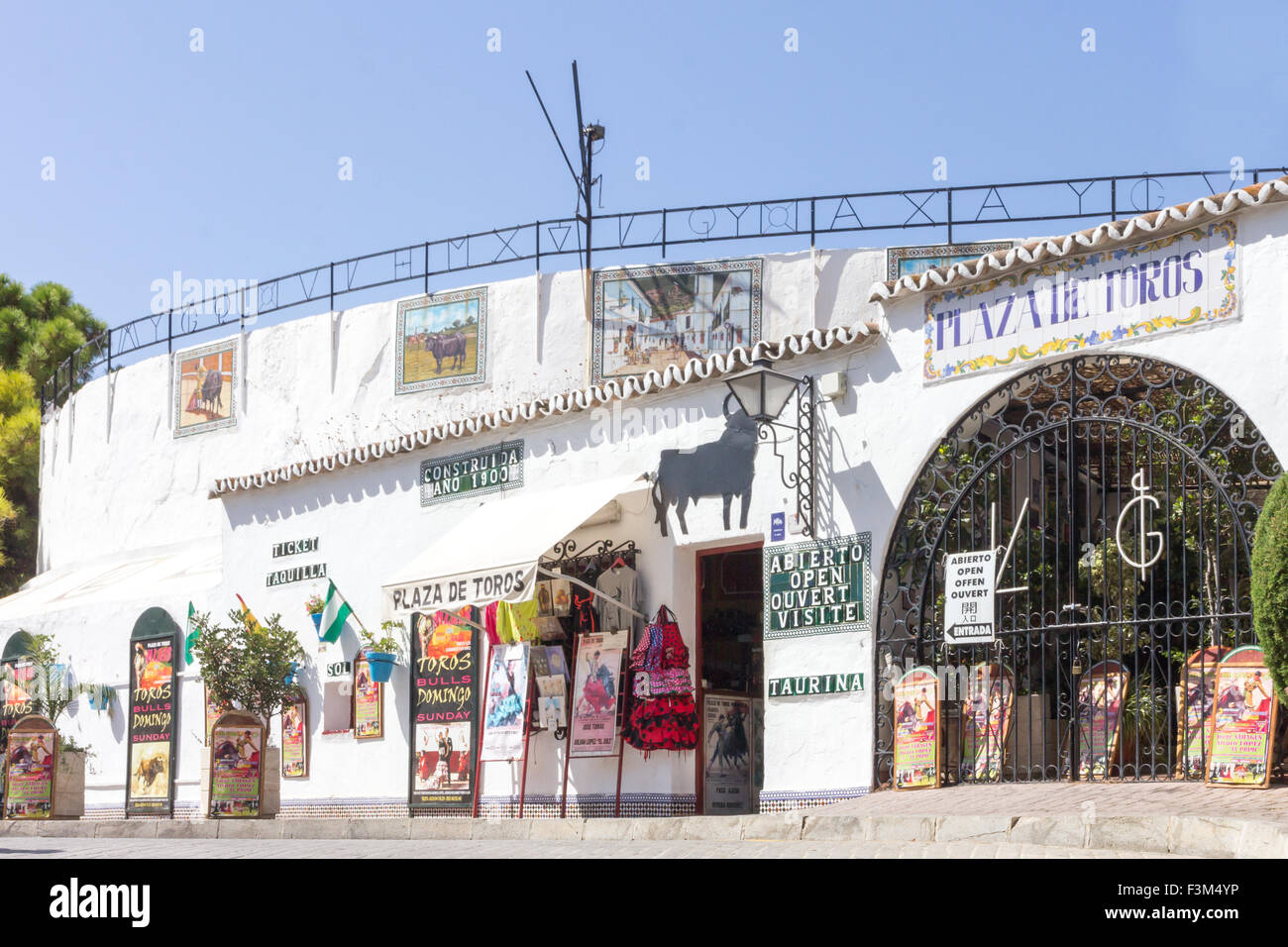 Exterior of bullring, Mijas, Andalucia, Spainentrance - Stock Image