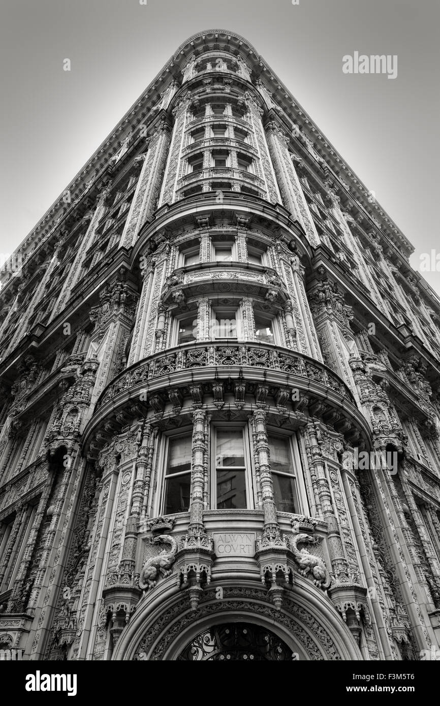 Magnificent architectural ornaments on a building's facade in the heart of Midtown Manhattan. New York City - Stock Image