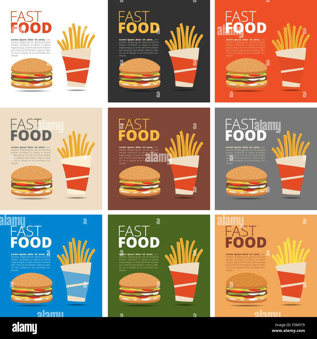 Fast Food Restaurant Menu With Burger French Fries And Drink Stock Vector Image Art Alamy