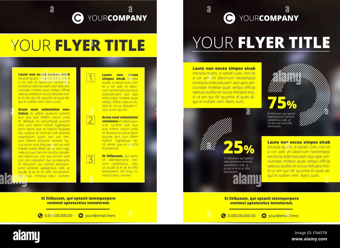 vector brochure template design with black background and yellow frames