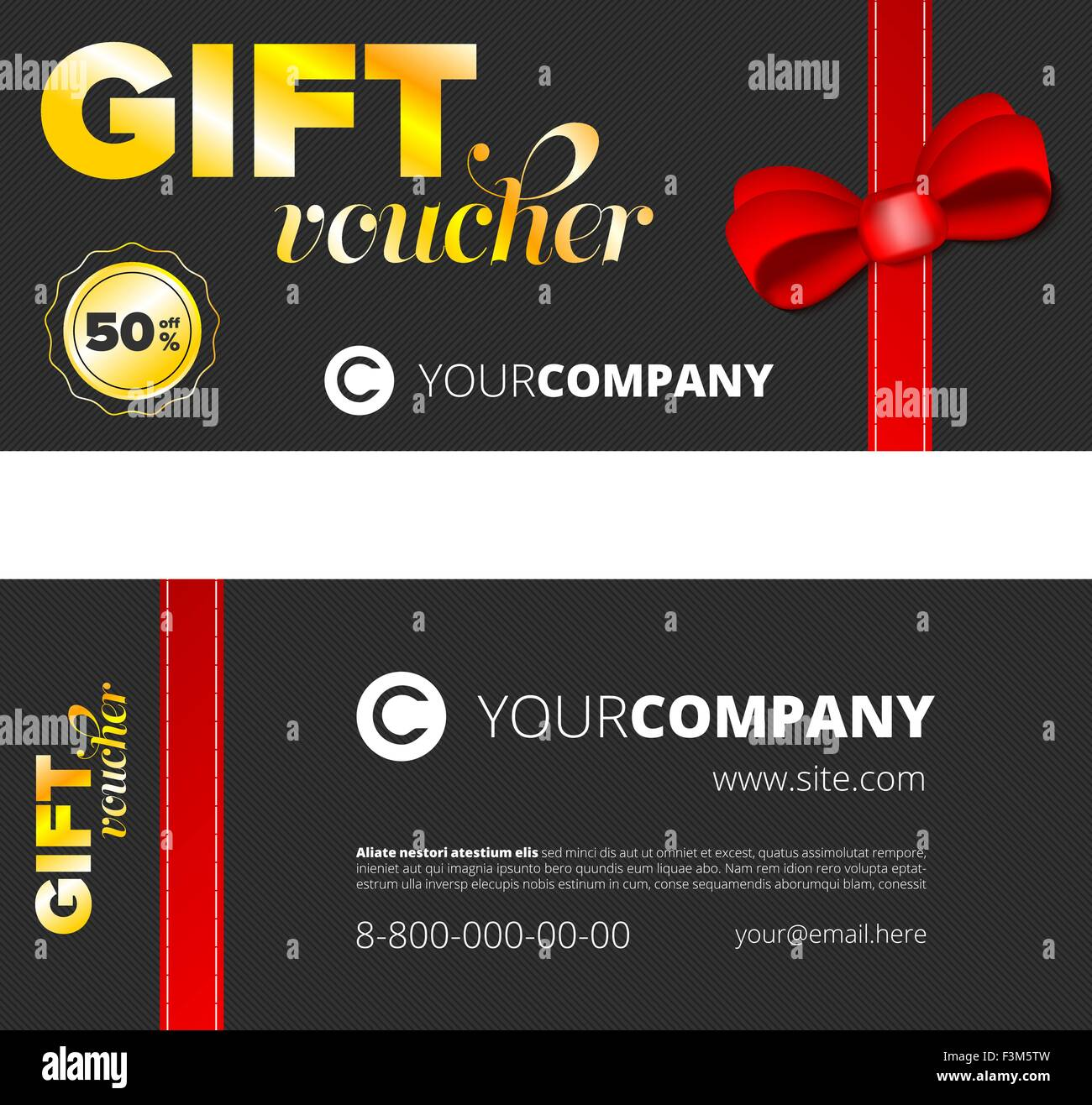 Black Gift voucher template with golden signs Stock Vector Art ...