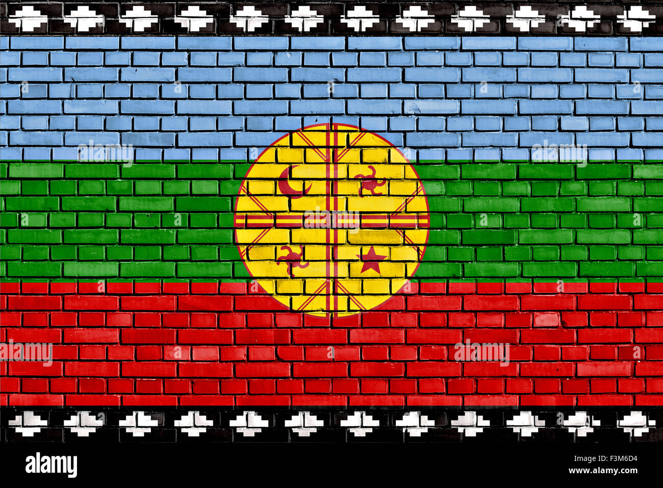 flag of Mapuche painted on brick wall - Stock Image