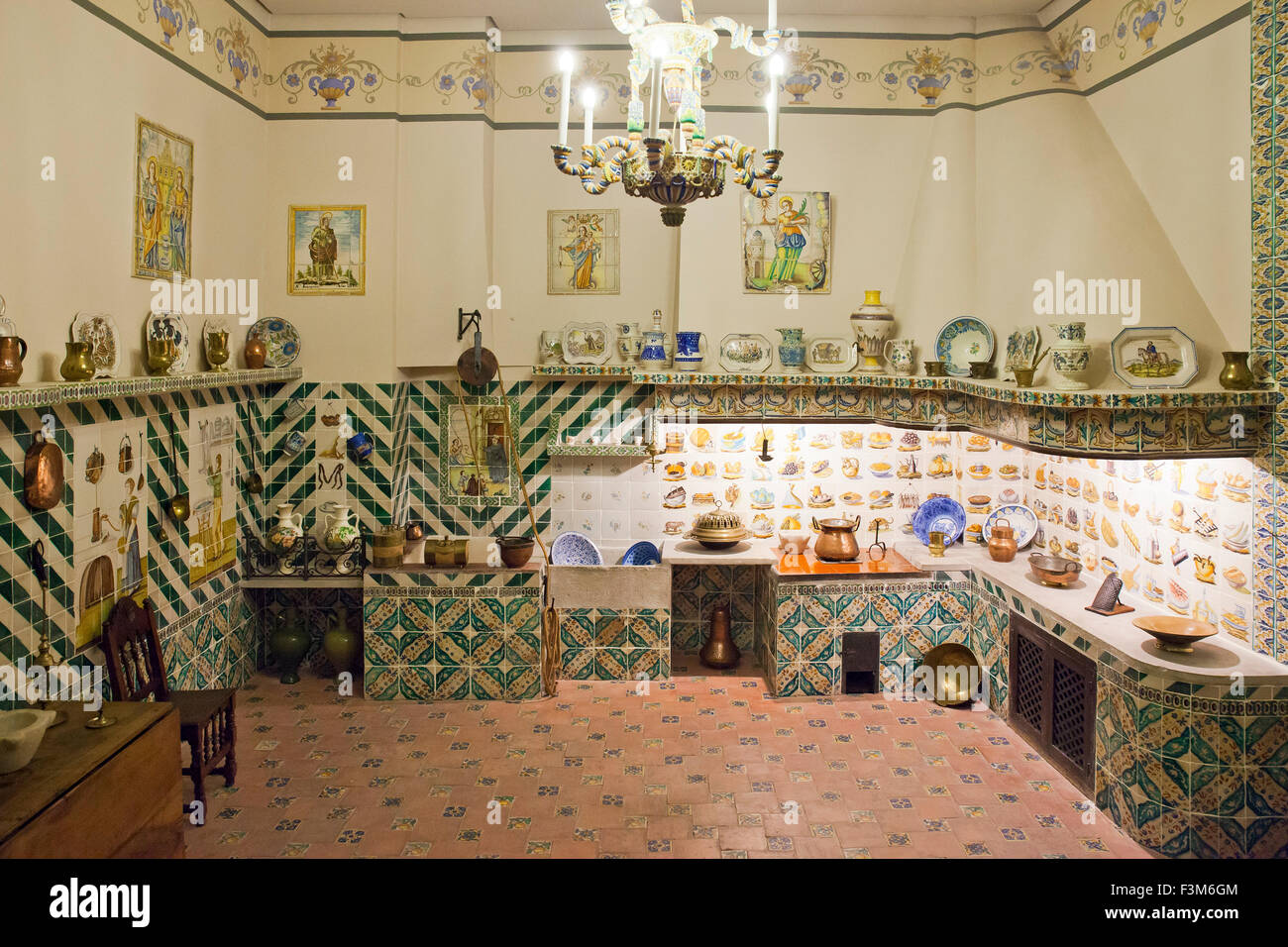 Vintage Spanish Kitchen, National Museum of Ceramics and Decorative Arts, Valencia, Spain Stock Photo