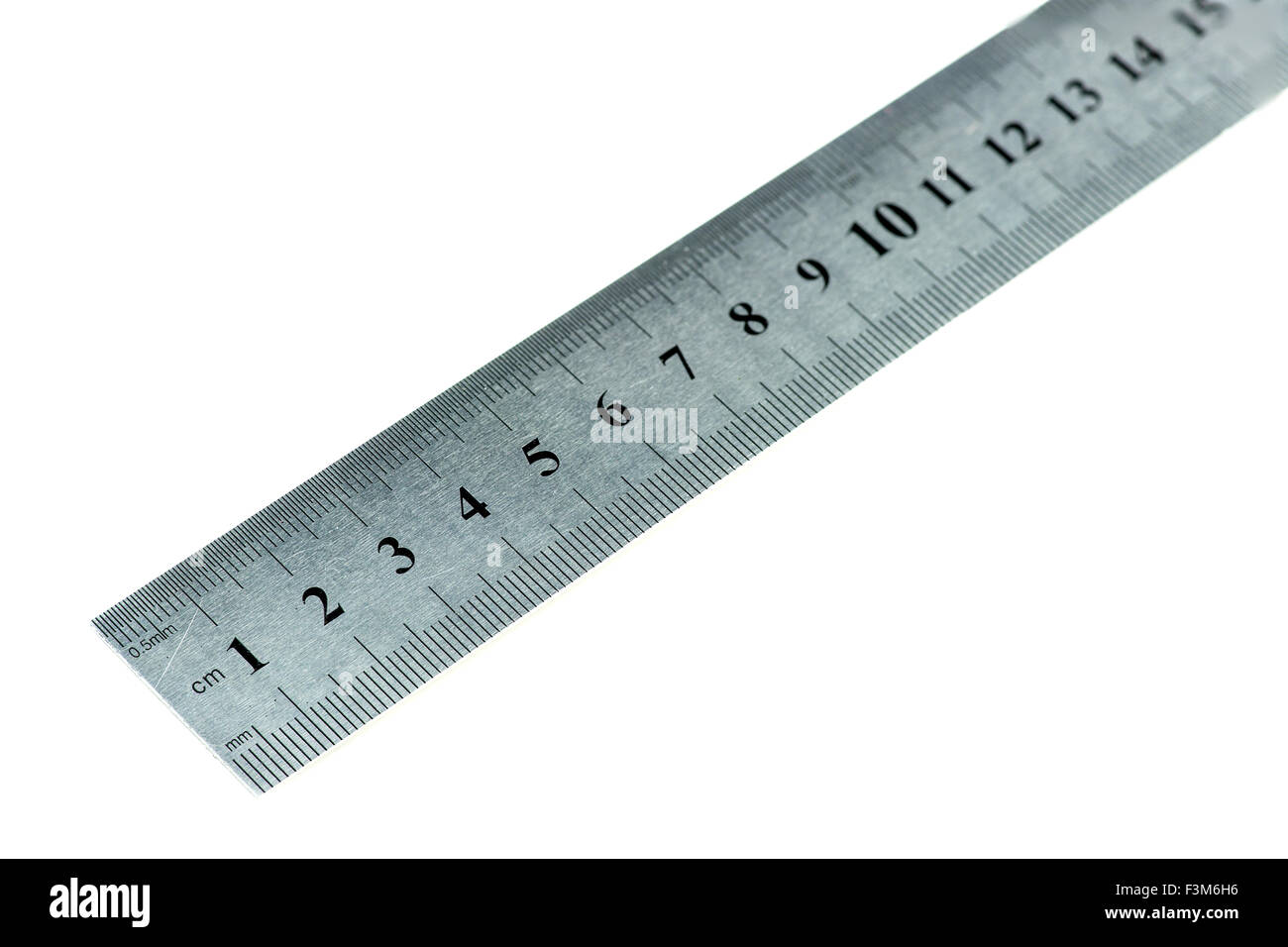 Macro of metal ruler - Stock Image