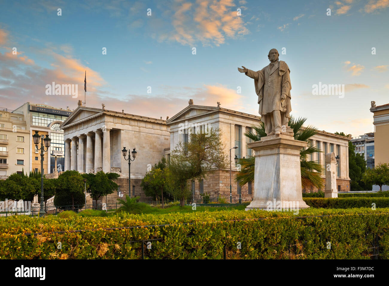 Statue at the National Library of Greece in Panepistimio, Athens - Stock Image