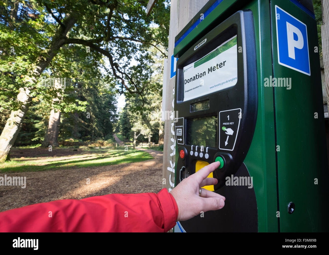 Donation parking machine in the New Forest National Park, Hampshire, UK - Stock Image