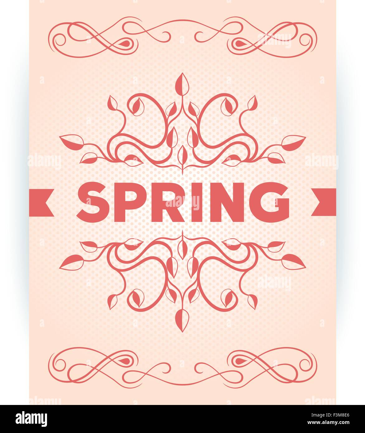 Spring inscription poster with leaves decoration design. Vector eps10 - Stock Image