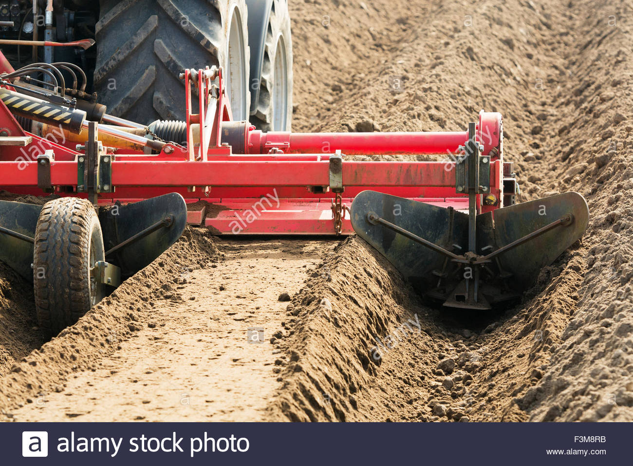 Ridge,Tractor,Plough,Yorkshire - Stock Image