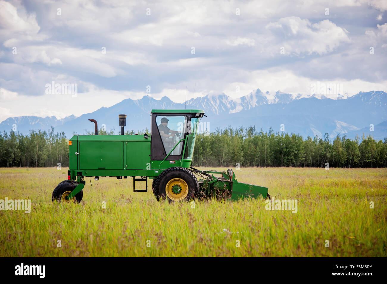Field,Agriculture,Farmer,Alaska,disc mower - Stock Image