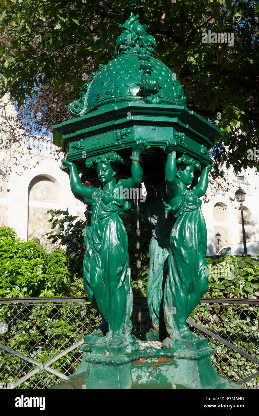 Vintage Water Fountain in Paris - Stock Image