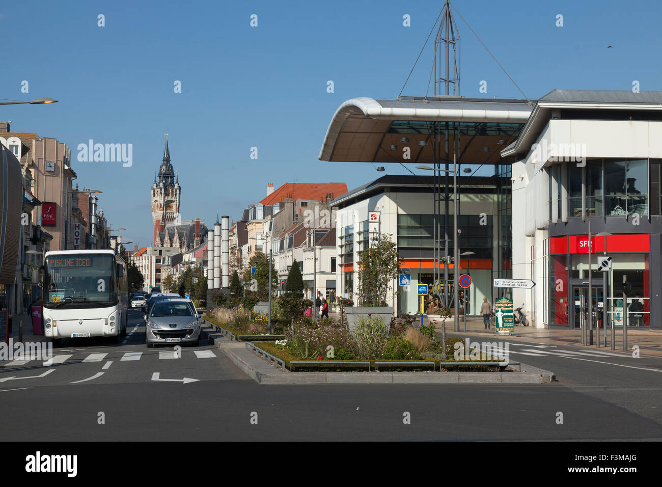 Main street in Calais France - Stock Image