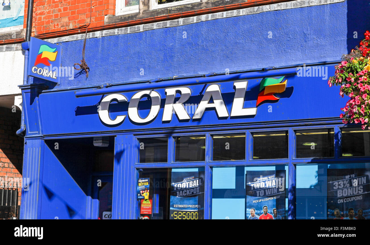 The frontage or facade of a Coral betting shop in Middlewich Cheshire England UK - Stock Image