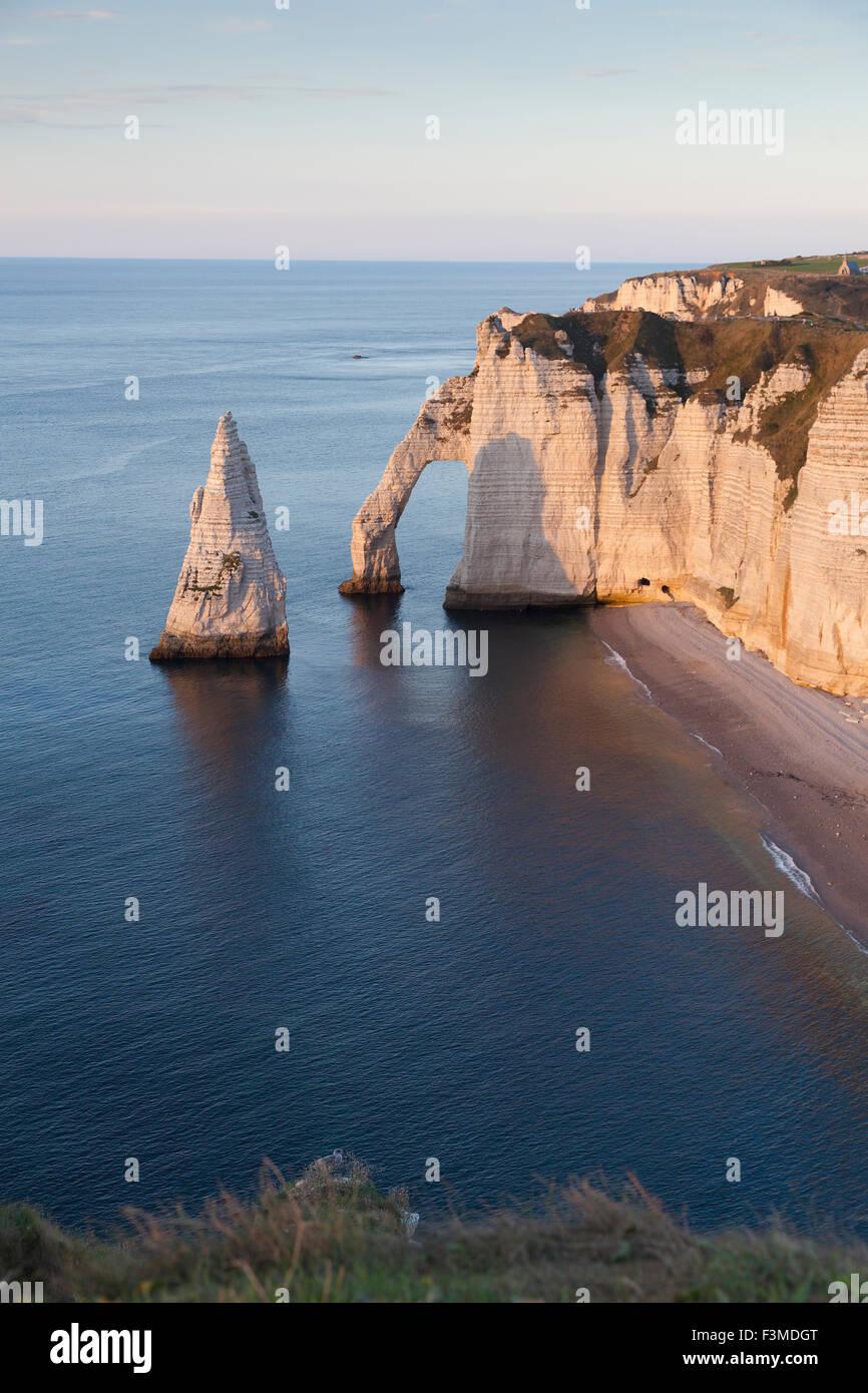 Aval cliff, Etretat, Cote d'Albatre, Pays de Caux, Seine-Maritime department, Upper Normandy region, France - Stock Image