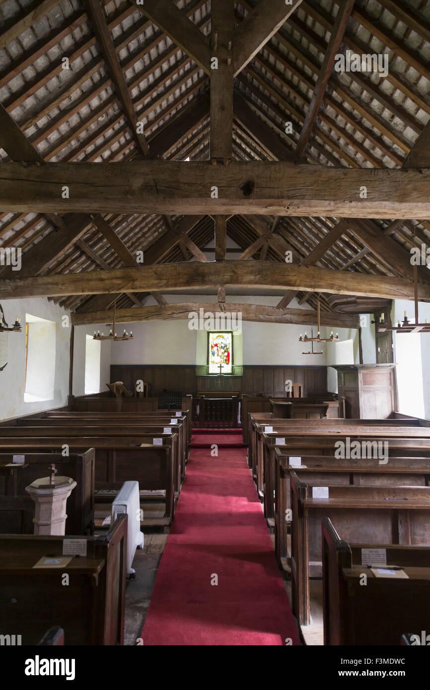 Church,Interior,Pew,Old,Cumbria - Stock Image