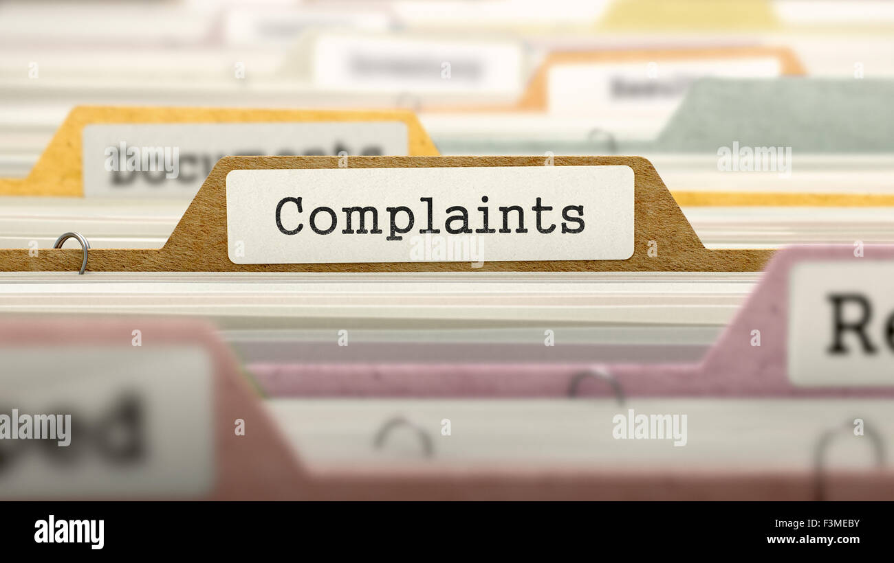 Complaints - Folder Name in Directory. - Stock Image