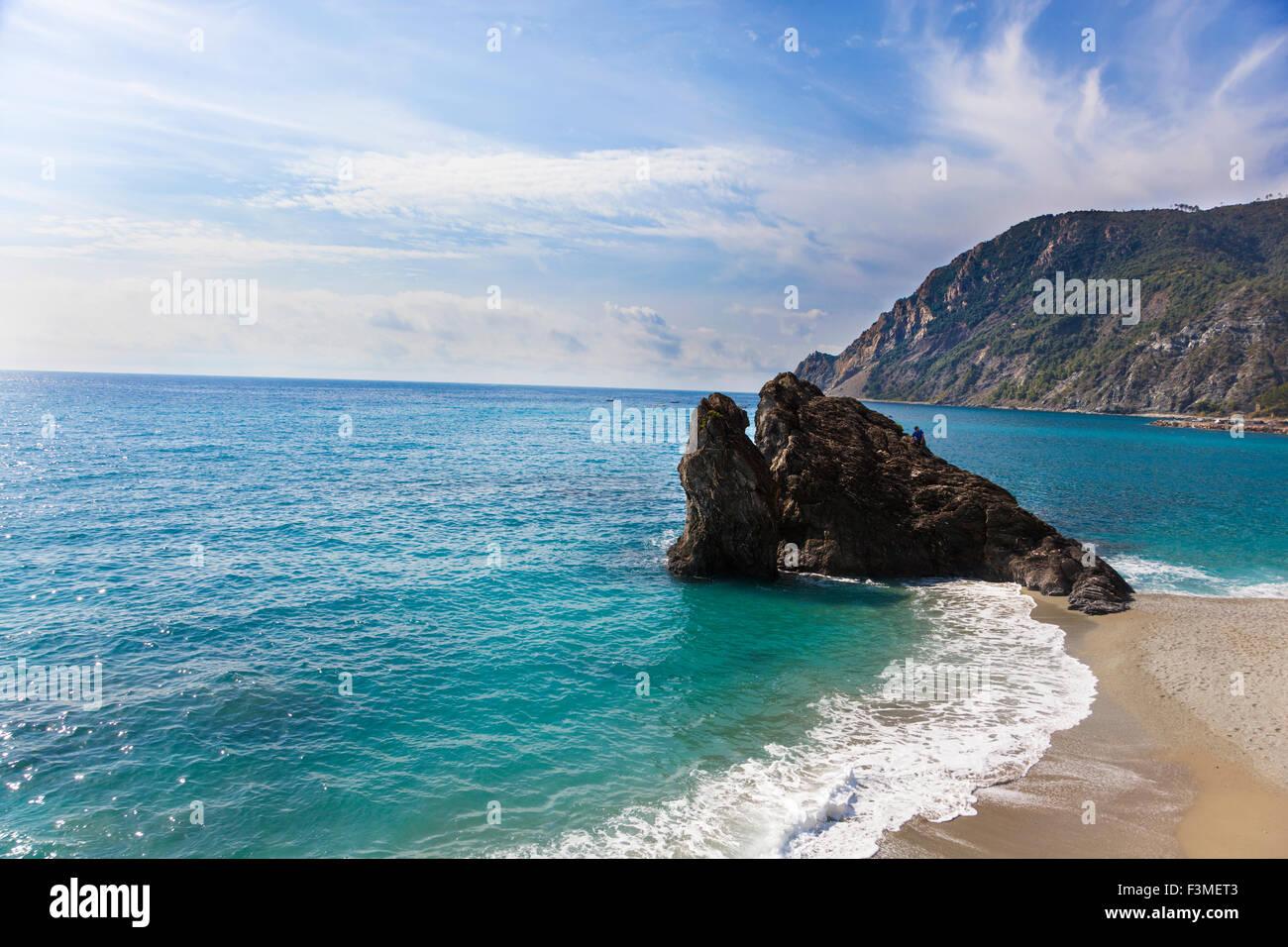 Beach in Monterosso al Mare, Cinque Terre, Italy Stock Photo