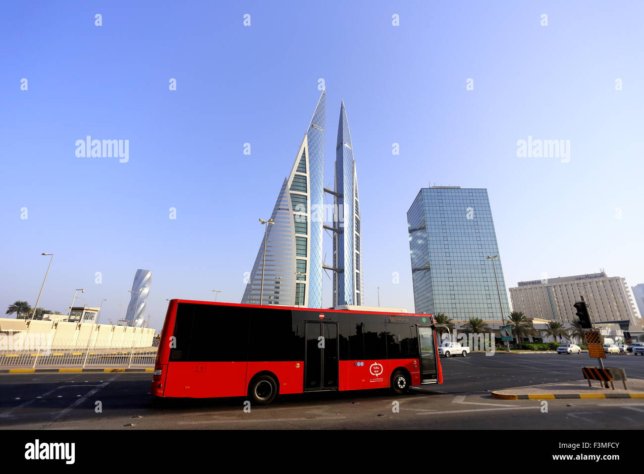 World Trade Centre, with one of the new buses in the foreground, Manama, Kingdom of Bahrain - Stock Image