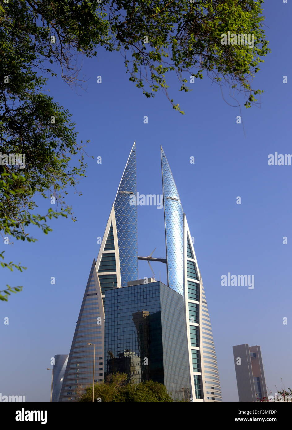 World Trade Centre, with the Four Seasons Hotel in the background, Manama, Kingdom of Bahrain - Stock Image