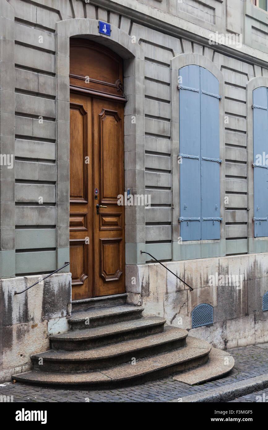 Door style on the streets of the old town district of Geneva - Stock Image & Wooden Bars Door Stock Photos u0026 Wooden Bars Door Stock Images - Alamy