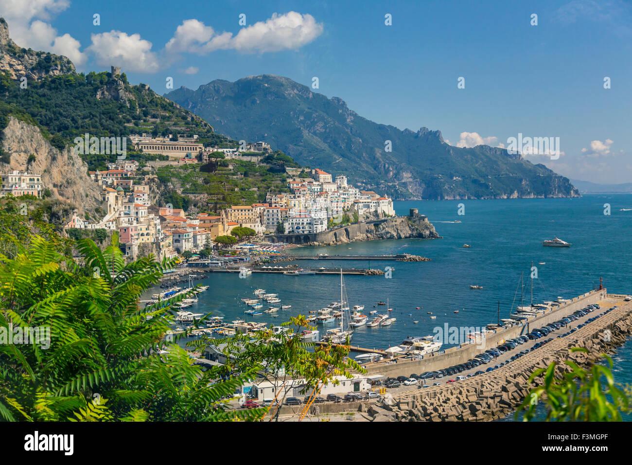 Harbor,Italy,Resort,Mountain,Amalfi Coast - Stock Image