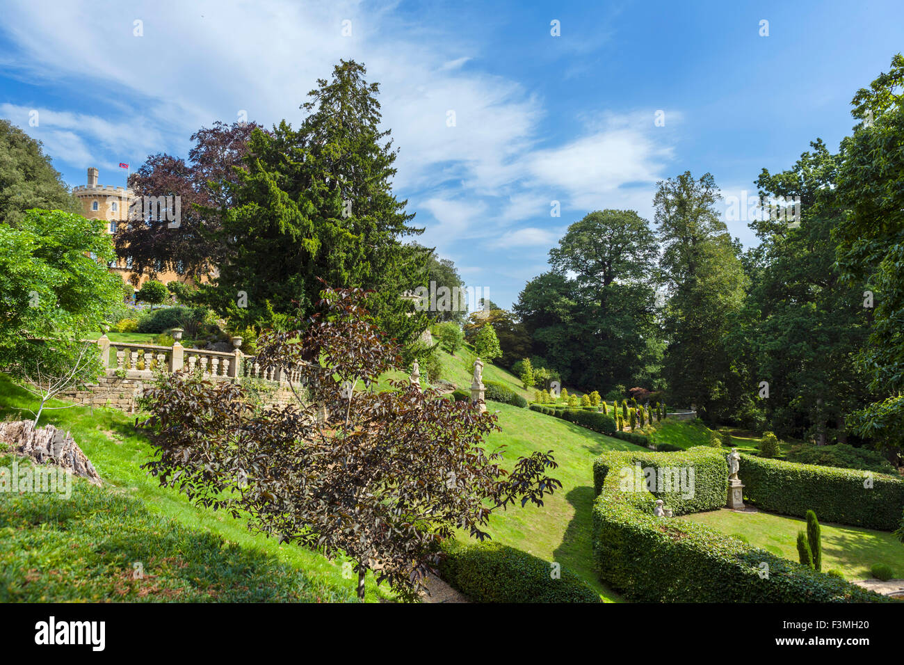 The gardens at Belvoir Castle, a stately home in Leicestershire, England, UK - Stock Image