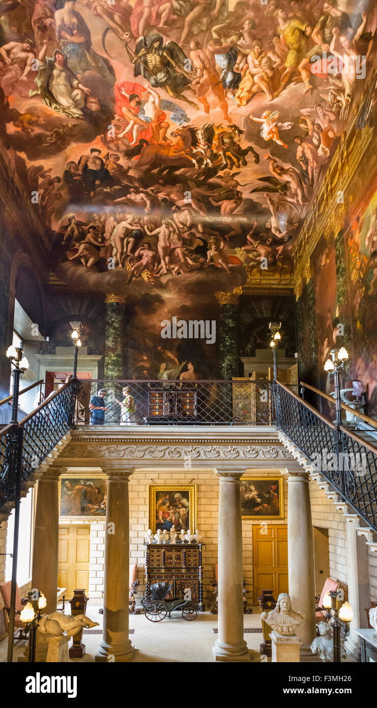 The Hell Staircase with ceiling painted by Antonio Verrio, Burghley House, near Stamford, Lincolnshire, England, - Stock Image