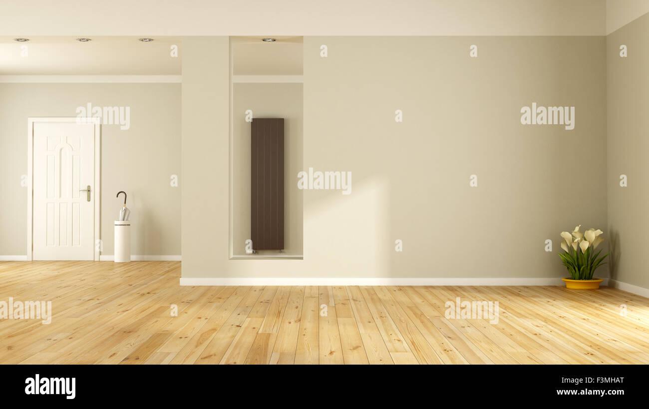 Empty living room with front door and vertical heater - 3D Rendering ...