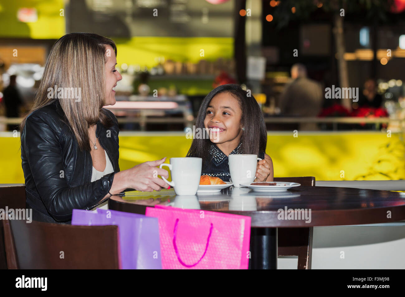 Girl,Canada,Mother,Daughter,Shopping Mall Stock Photo