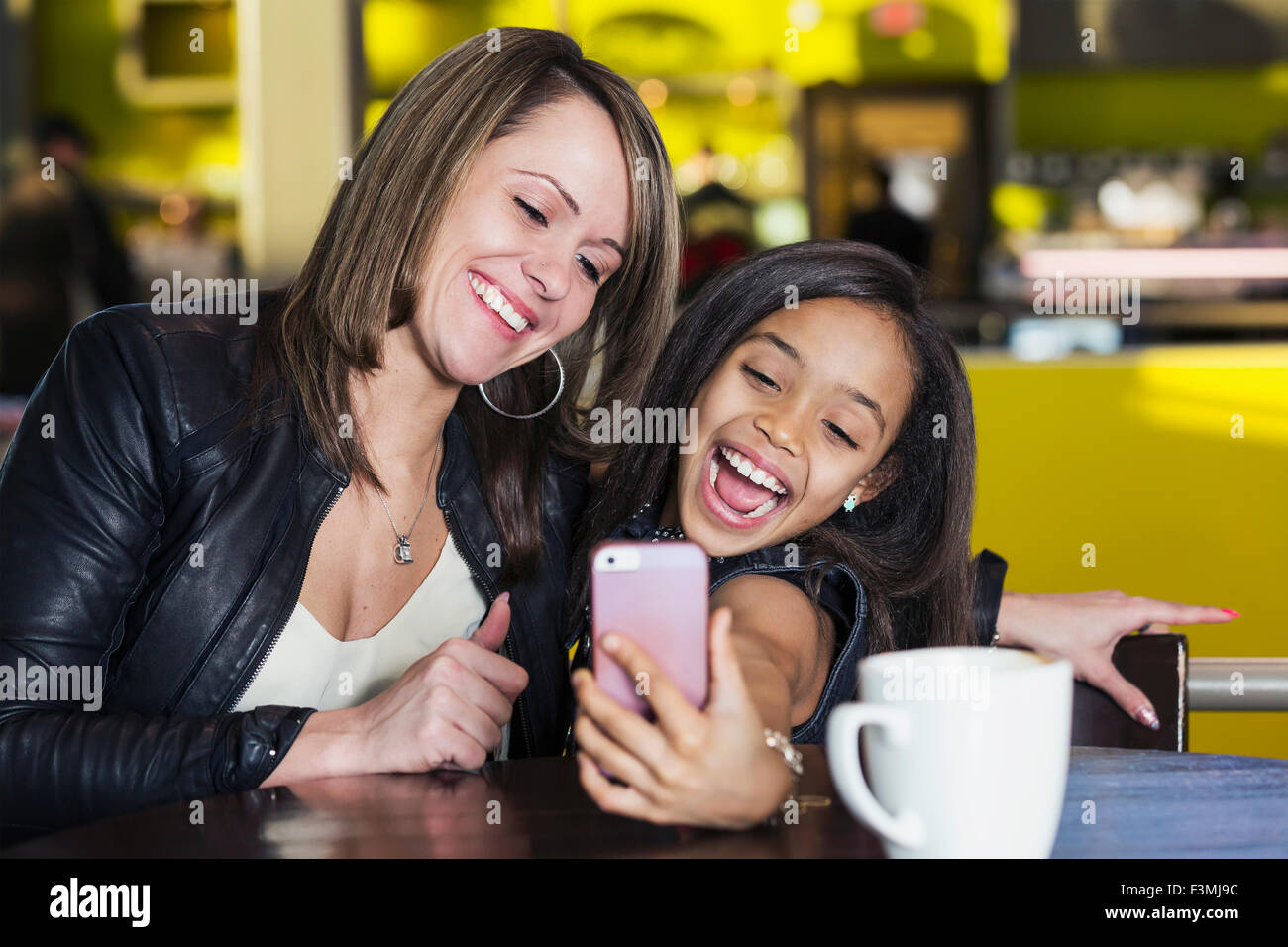 Girl,Canada,Mother,Daughter,Mall,selfie Stock Photo