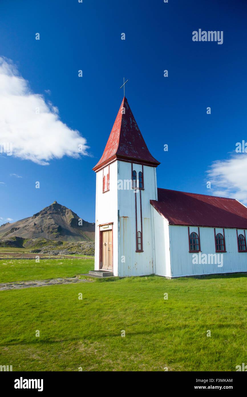 Hellnar church, Snaefellsnes Peninsula, Vesturland, Iceland. - Stock Image