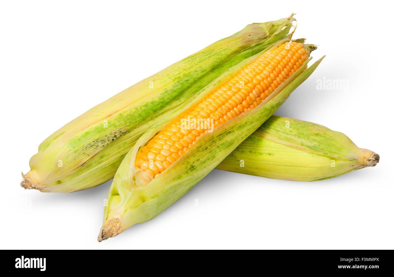 Three cross lying corn cob isolated on white background - Stock Image